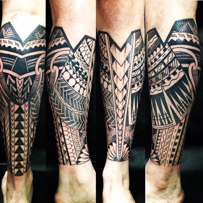tattoo bedeutung, samoanische tätowierung mit geometrischen figuren am bein