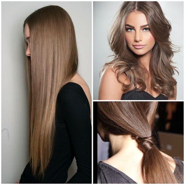 drei verschiedene Frisuren für Lange Haare, Pferdeschwanz, schwarze Kleider