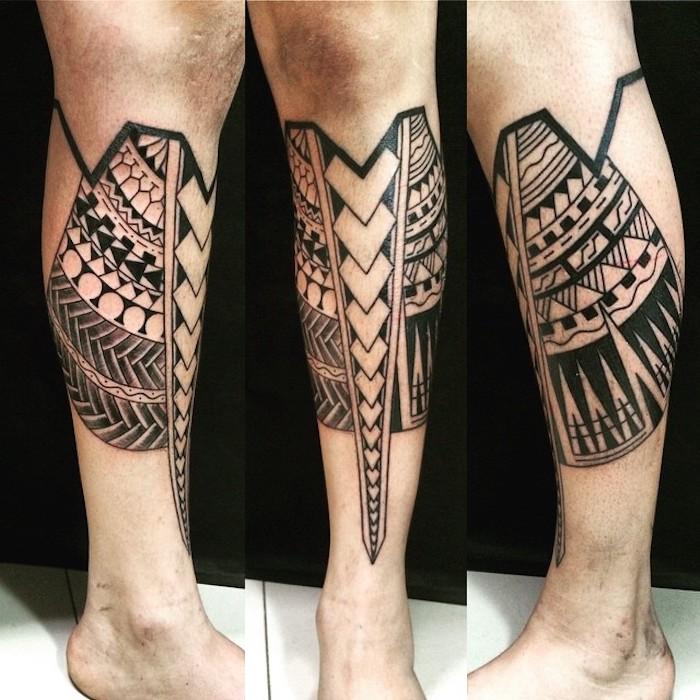 tattoo arten, samoanische tätowierung am bein, tattoos für männer