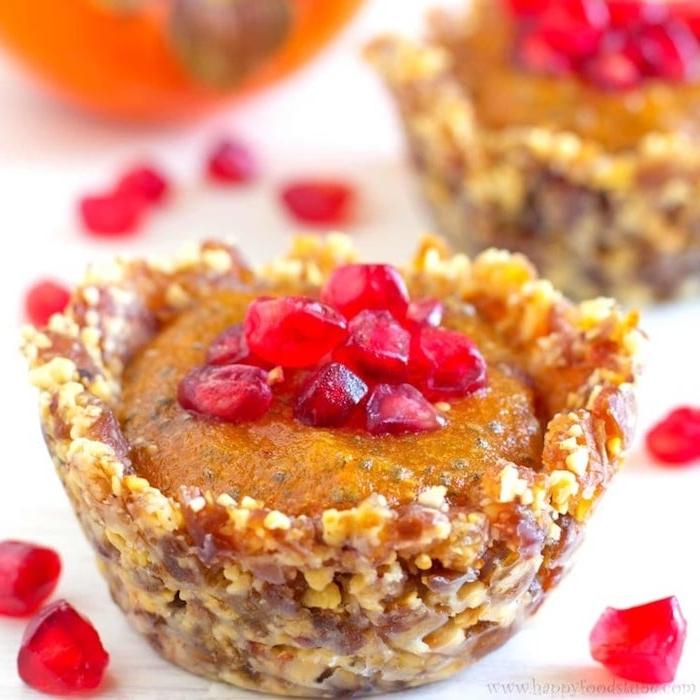 nachtisch mit kaki frucht und nüssen, dessert selber machen