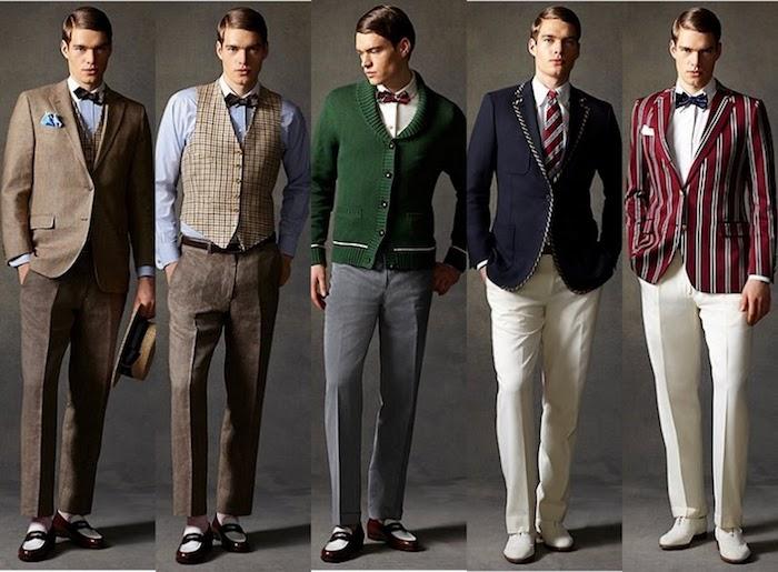 charleston Kleider für Männer, Weste mit Karo, Lackschuhe in Braun und Weiß