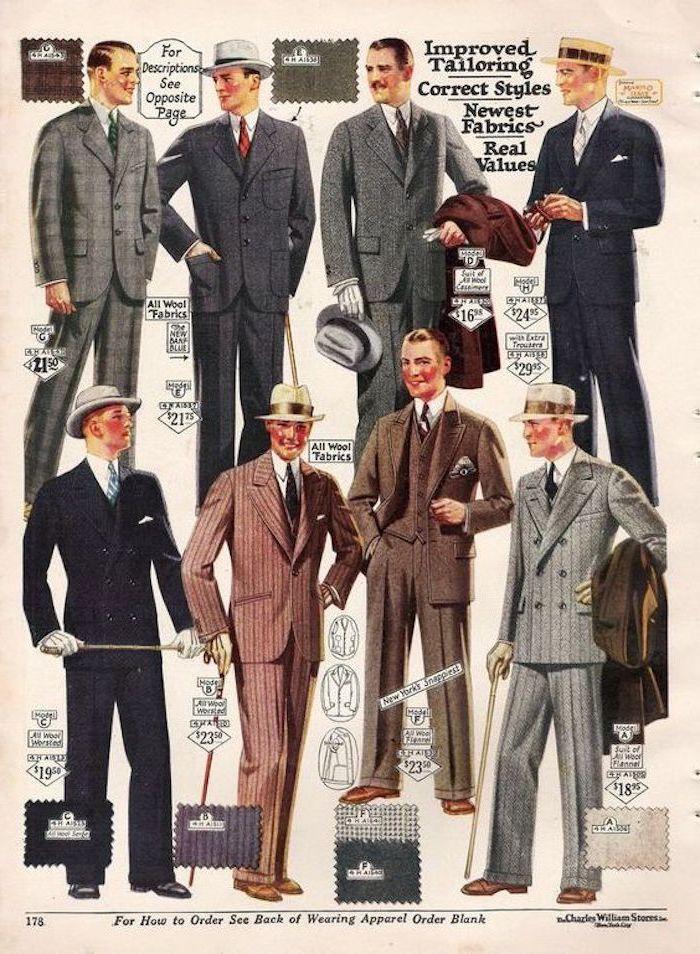 Vintage Kleider, Männermode, Männerhüte, Männeranzüge-Modelle