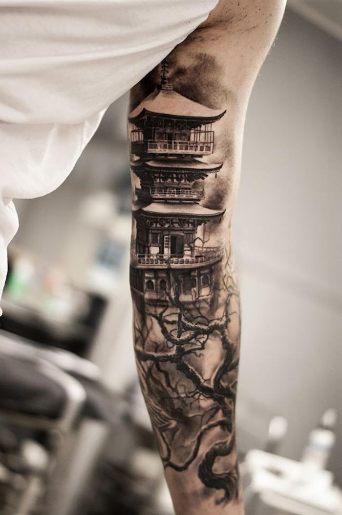 chinesische tattoos für männer, chinesische gebäude, sleeve tattoo
