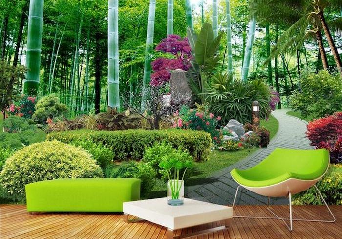 garten gestalten, minimalistische grüne gartenmöbel, garten mit vielen pflanzen