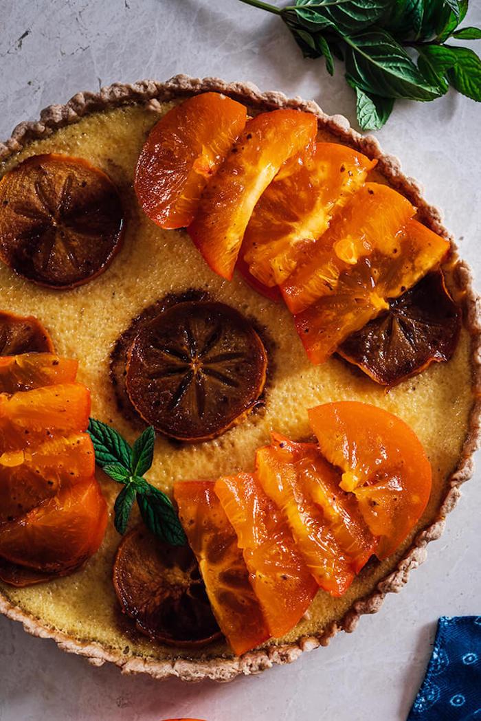 tarte mit kaki frucht selber machen, dessert mit obst