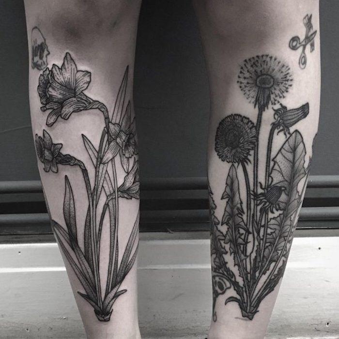tattoos mit bedeutung, große tätowierungen an den beinen