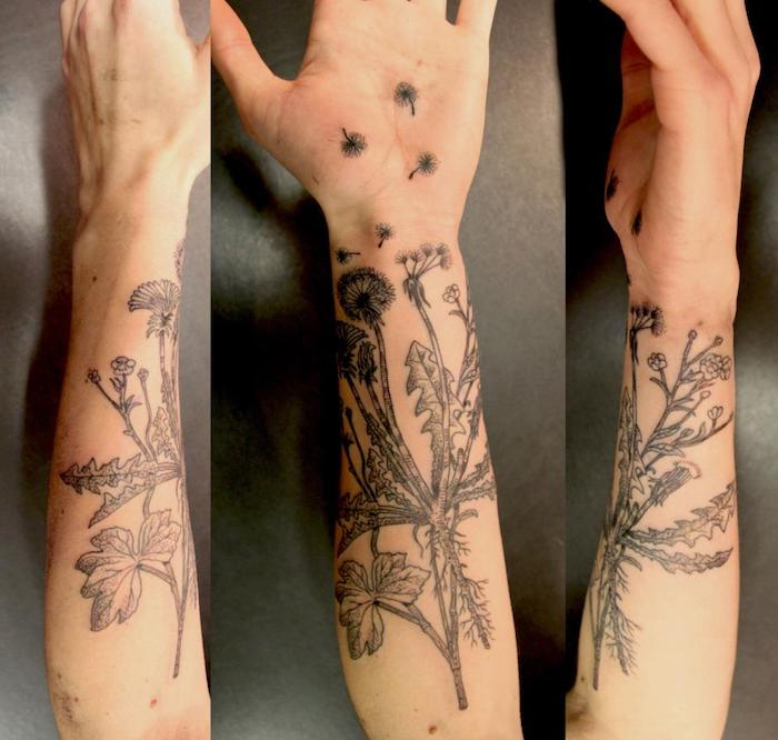 pusteblume tattoo am unterarm, schwarz-graue tätowierung mit blumen-motiv
