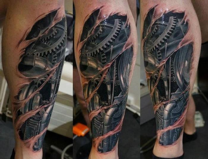 tattoo vorlagen männer, realistische 3d tätowierung mit maschinenteilen