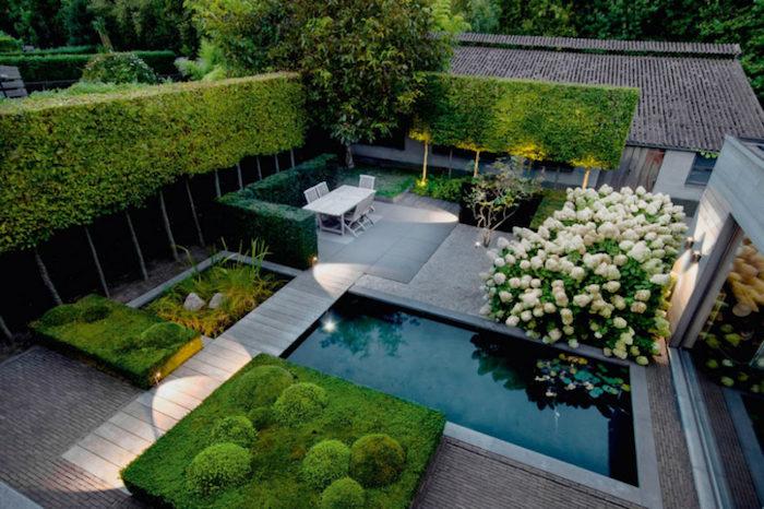 gartengestaltung ideen, hintergarten mit schwimmbad und viele grünen büschen