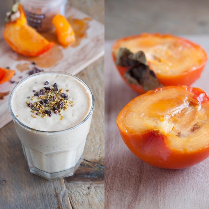 kaki essen, smoothie mit sharonfrüchten und chia samen
