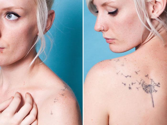 tattoos mit bedeutung, frau mit blonden haaren und tätowierung an der schulter