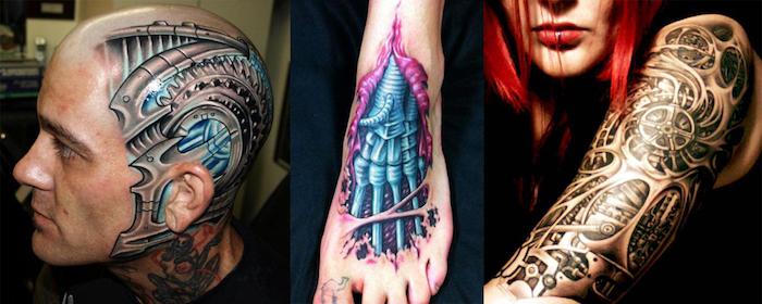 frau mit oberarm tattoo, mann mit biomechanischer tätowierung am kopf