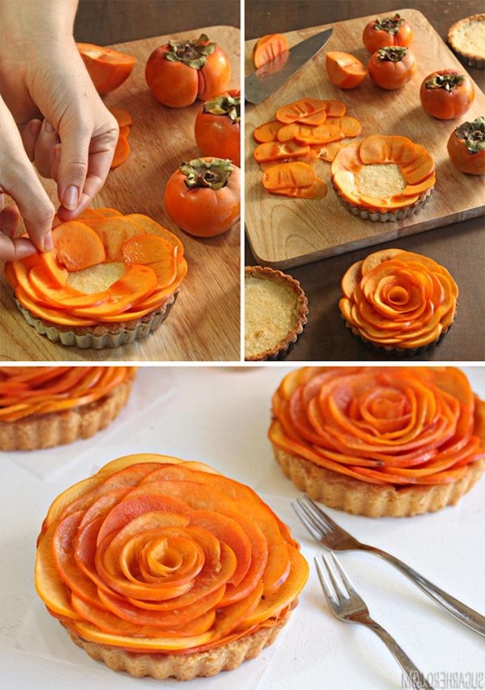 kleine tarten mit persimone selber machen, rosen aus kaki früchten