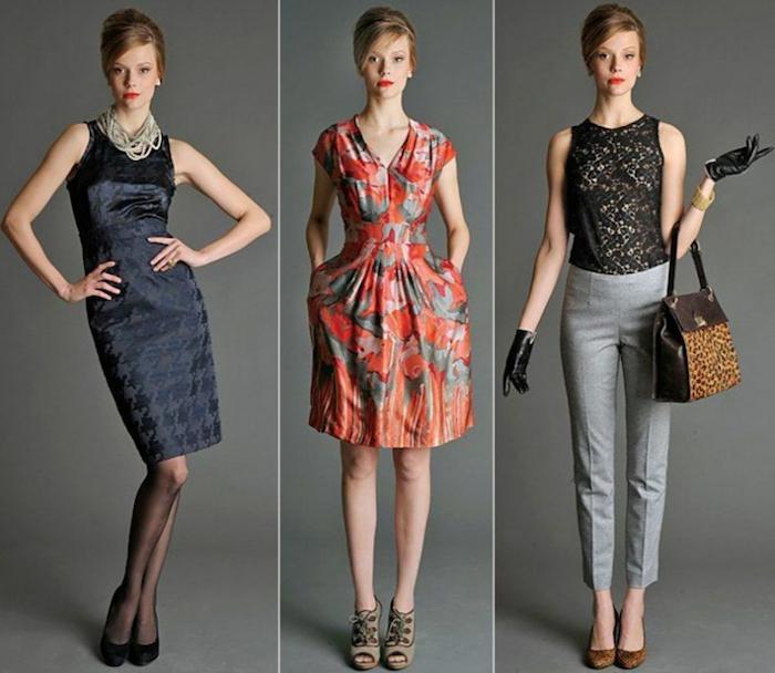 Tasche mit Leopardenprint, schwarze Spitzenbluse, Hose mit Falten, offene Schuhe