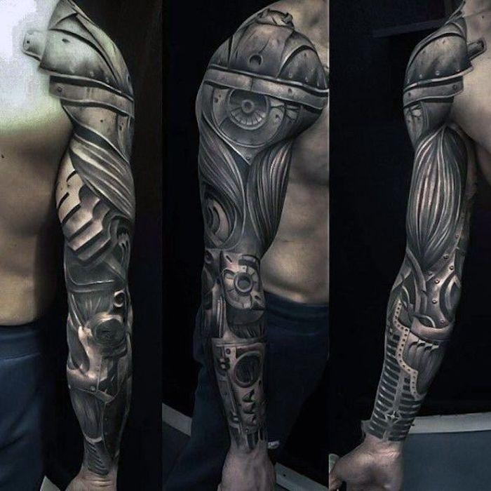 arm tattoo mann, schwarz-graues sleeve tattoo mit maschinen-motiv