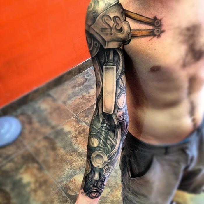 arm tattoo mann, große 3d tätowierung mit maschinenteilen