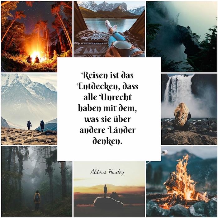 hier finden sie viele tolle bilder zum thema reisen mit bergen, wasserfällen und reisenden menschen und einem kurzen spruch von huxley