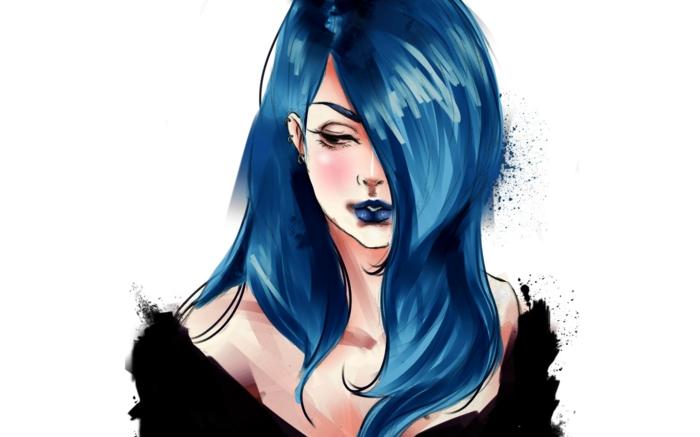 schwarze Haare, Augenbrauen und Lippen, Wallpaper mit blauhaariger Frau, Anime