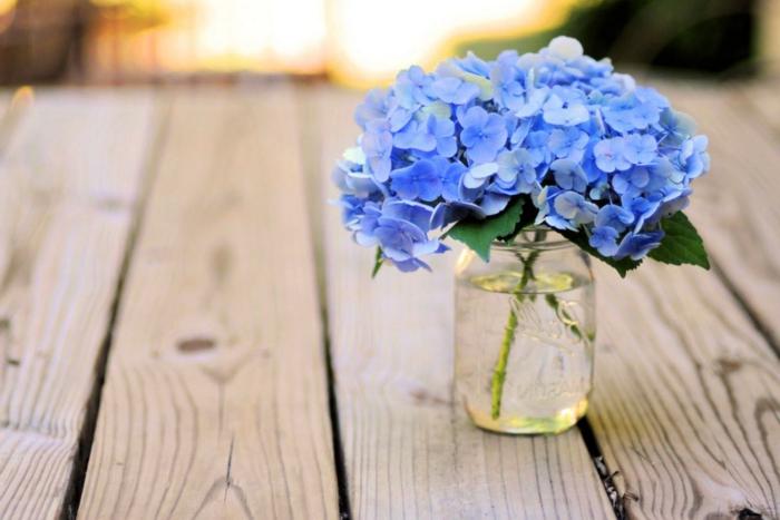 blaue Hortensien im Einmachglas, Shabby Chic-Stil, kleiner, zarter Blumenstrauss, vielfältige Blumenarten
