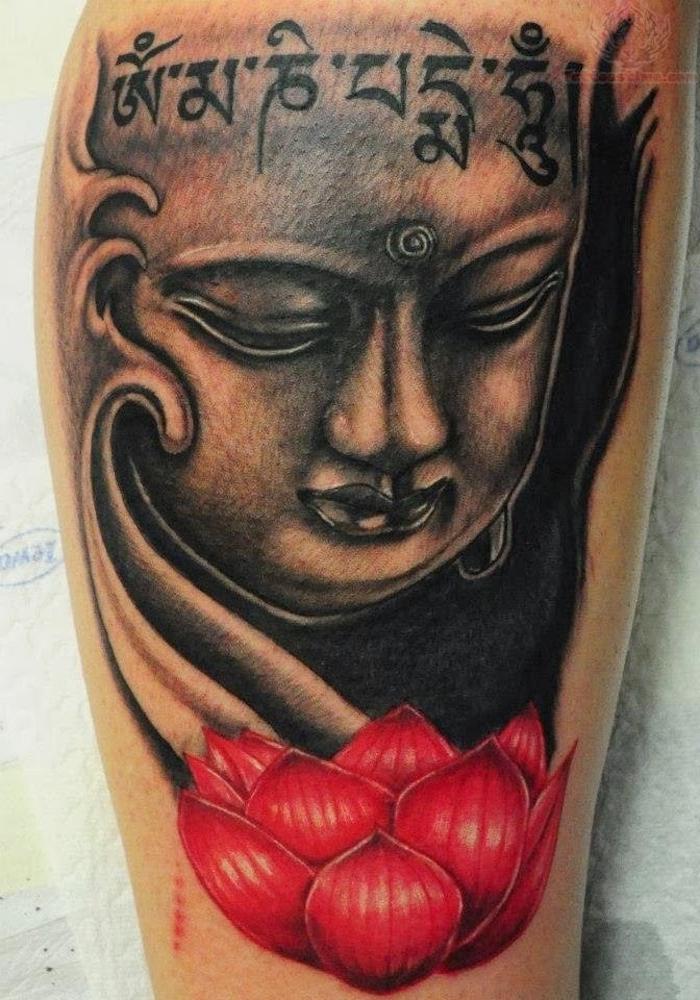 unterarm tattoo, buddha tattoo mit buchstaben und rotem lotus