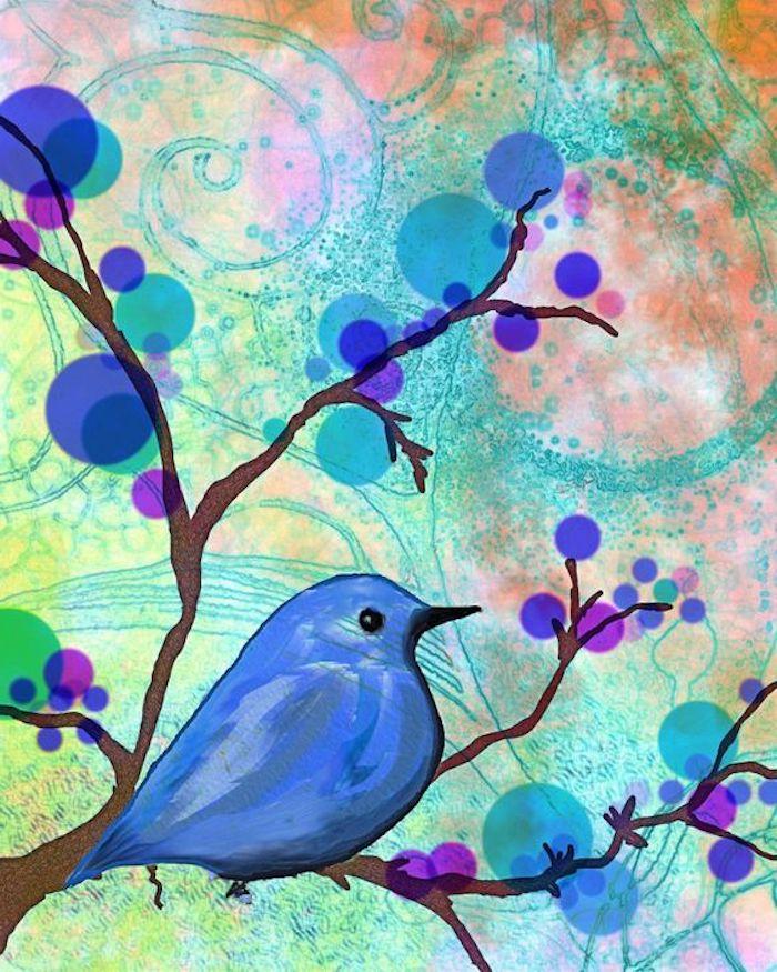 coole Hintergrundbilder, abstraktes Bild, Spiralen, lila und blaue Baumblüten