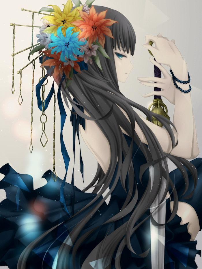 schönes Mädchen mit Kopfschmuck aus Blumen, blaue Augen, schwarzes Kleid