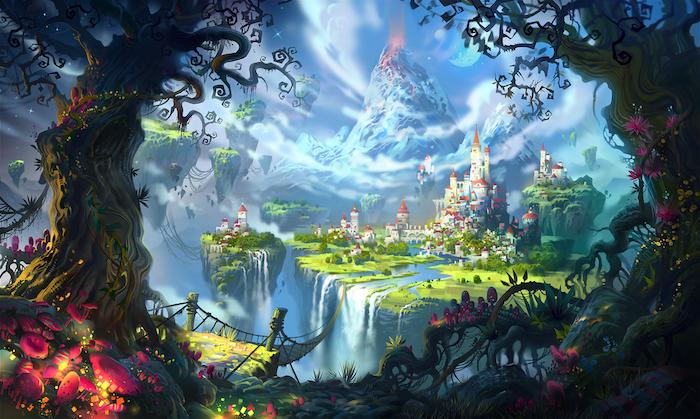 ein Schloss aus einem Märchen, Gebirge mit verschneiten Gipfeln, Pilzen