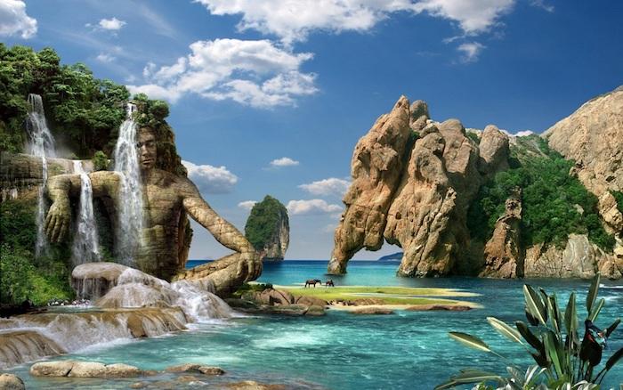Felsen mit Wasserfall, grüne Bäume, Moos, Tiere, Huftiere, braune Pferde