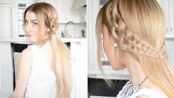 ein blondes Mädchen mit elegant geflochtenen Frisur - Oktoberfest Frisuren