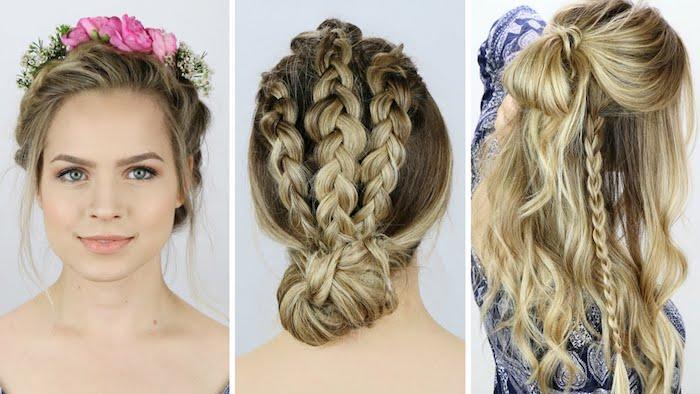 blonde Haare mit Zopf Frisuren und Blumen als Kranz - Oktoberfest Frisuren