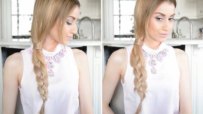 Oktoberfest Frisuren für blondes Haar mit einem lässigen Zopf Mädchen mit einer weißen Bluse
