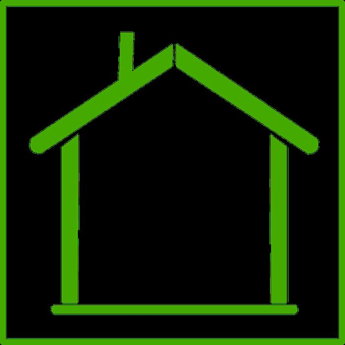 grünes Haus, Diagramm, Zeichnung, grüne Konturen, weißer Hintergrund