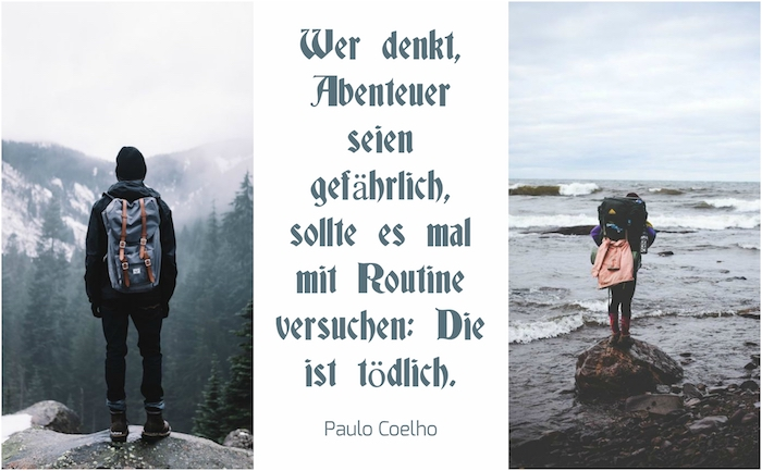 zwei bilder mit menschen mit rucksack und ein vorschlag zum thema schöne sprüche zum nachdenken von paulo coelho