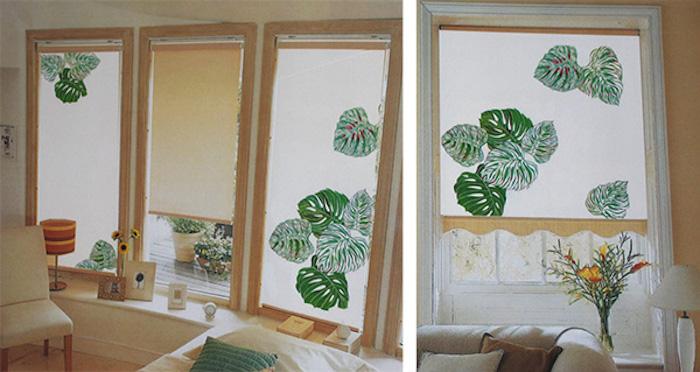 weiße fensterrollos mit grünem blättermotiv, moderner sonnenschutz