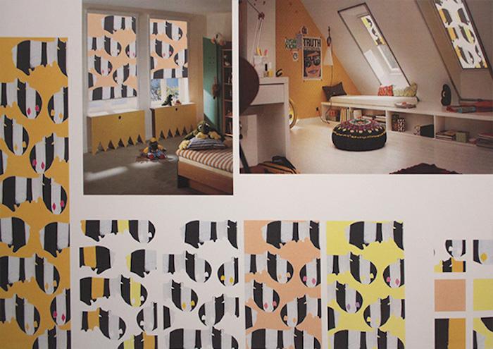 fensterrollos designen, rollos in orange, schwarz und weiß