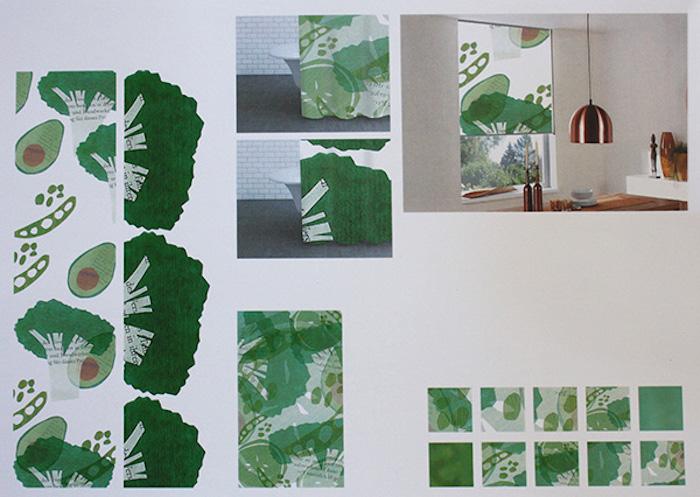 weiße fensterrollos mit grünem motiv, rollos designen