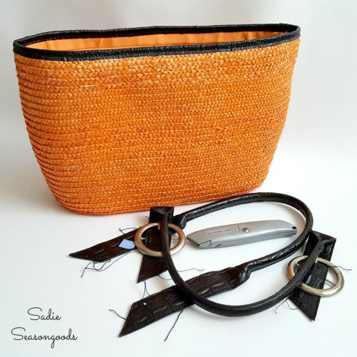 den Gerten herbstlich dekorieren, Blumentopf aus oranger Tasche selber machen, kreative Ideen zum Nachmachen