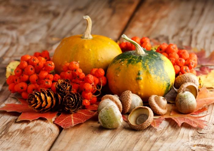 herbstliche Dekoelemente, Kürbisse, Eicheln, Zapfen und Herbstblätter, schöne Tischdeko selber arrangieren