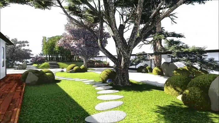gartengestaltung beispiele, pfad aus naturstein, hintergarten mit grünen pflanzen