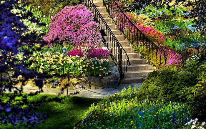 gartengestaltung ideen, hintergarten mit treppe und vielen bunten blumen