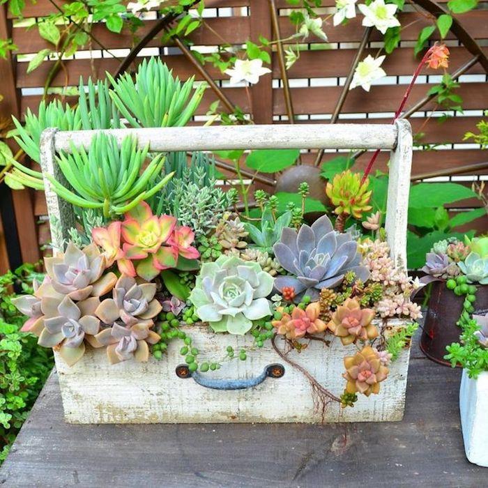 gartengestaltung kleine gärten, diy blumentopf mit grünen pflanzen