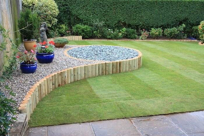 gartengestaltung kleine gärten, garten mit naturstein dekorieren