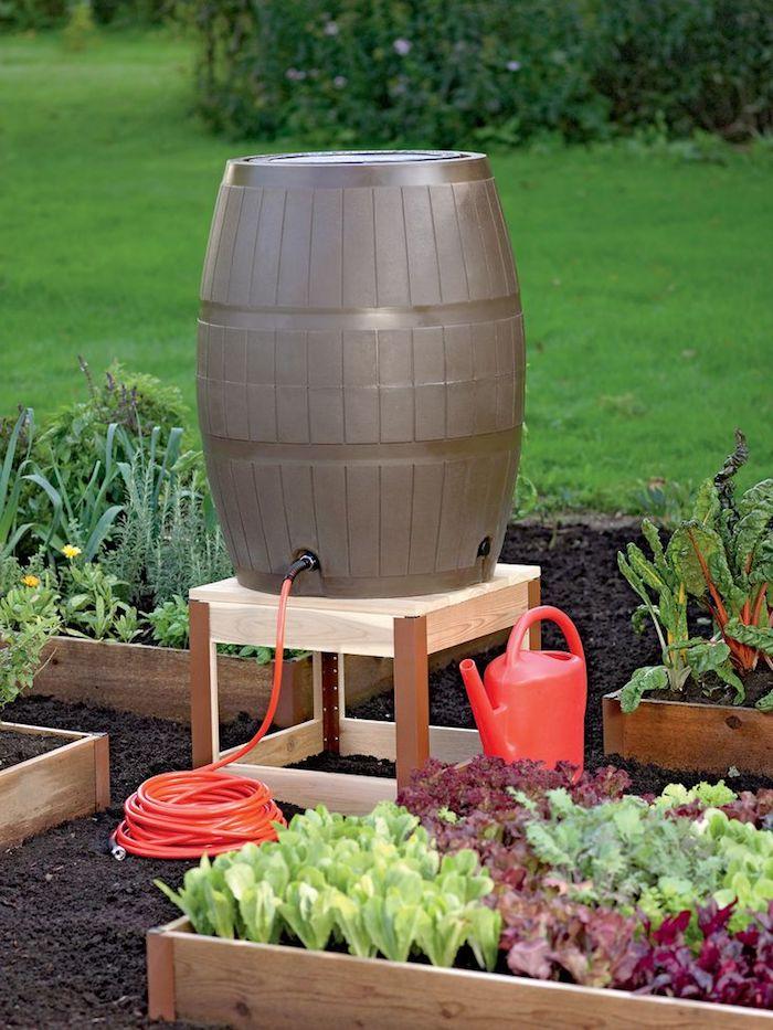 gartengestaltung ideen, gemüse im garten pflanzen, fass mit wasser