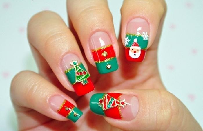 weihnachtsnägel-tolle-design-ideen-zum-gestalten-grün-rot-und-weiß-goldene-deko
