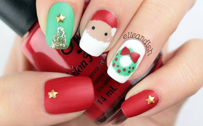 winternägel designideen der weihnachtsmann auf den nägeln streichen sterne deko