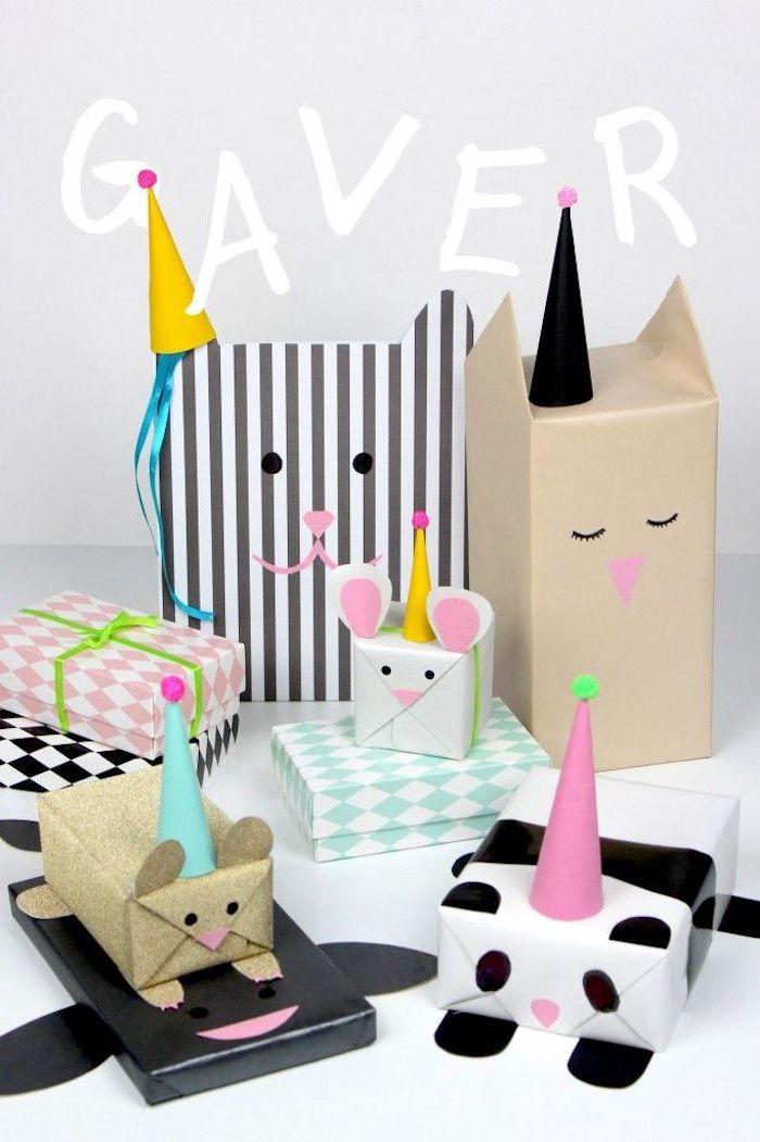 schöne Kindergeschenkverpackungen in der Form von verschiedenen Tieren
