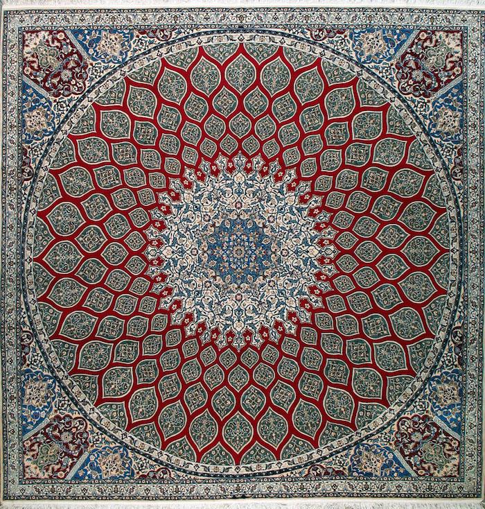 teppich türkis idee quadratischer teppich mit runden formen dekorationen rot mosaik