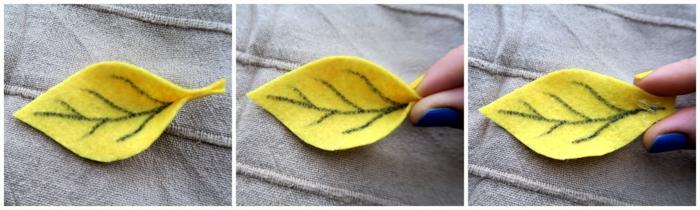Herbstblätter aus Filz ausschneiden, herbstlichen Kranz basteln, tolle Ideen für Dekoration