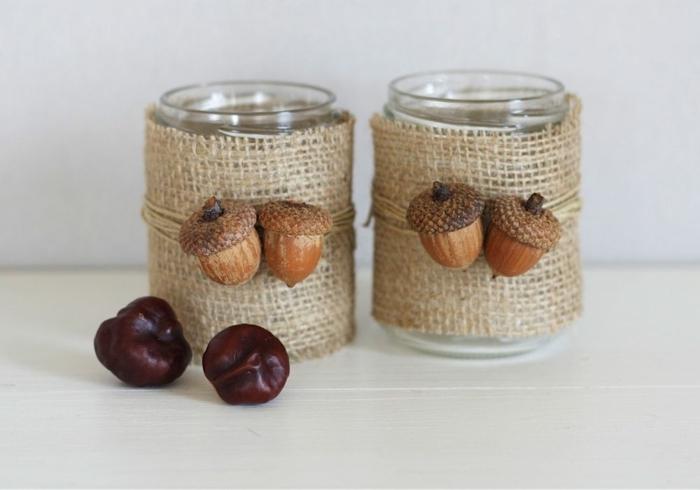 Herbstdeko aus Einmachgläsern, Eicheln und Kastanien, einfach und kreativ, ausführliche Anleitung