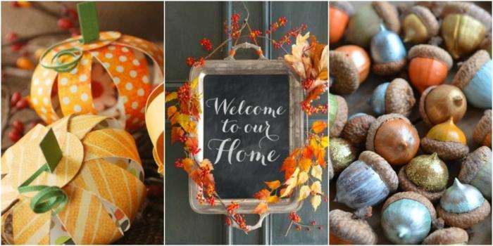 Herbstlich dekorieren, Eicheln bemalen, Kürbisse aus Papier basteln, schwarze Tafel mit Dekoblättern verzieren